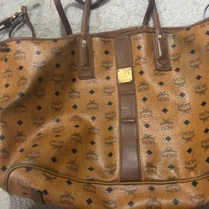 MCM bag with wear and tear on edges